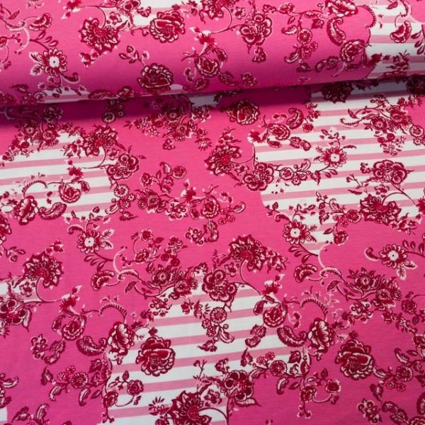 Baumwolljersey Flowers Grow Over Stripes rosa