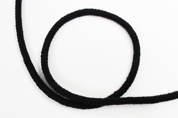6mm Kordel geflochten schwarz Baumwolle