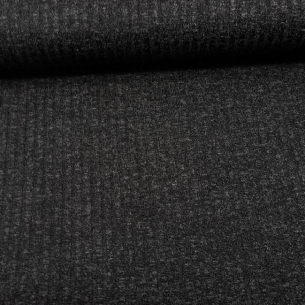Strickjersey Ripp melange schwarz