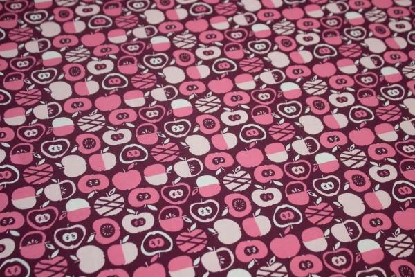 """ Apfelliebe "" bordeaux-pink-rosa BIO-Baumwolljersey Öko Tex 100"