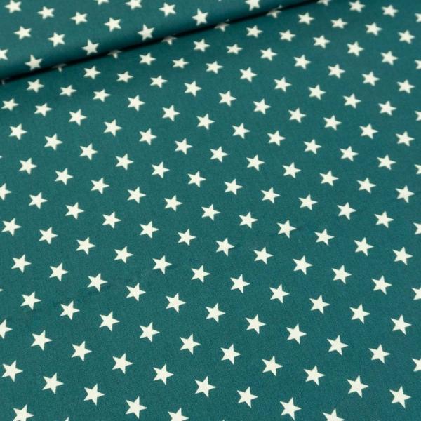 Baumwolle/Webware Stars petrol Ökotex 100