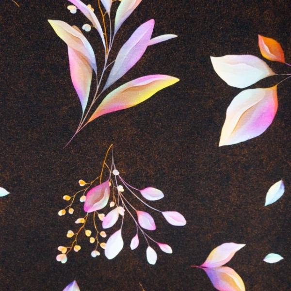 Bio-Baumwolljersey Melange Leaves kupfer
