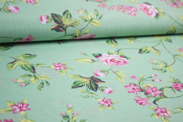 Beschichteter Canvas Blumenranke mint-grün-rose 100% Baumwolle Ökotex 100