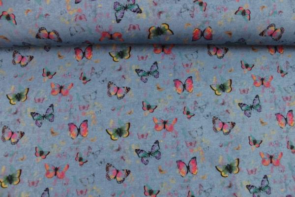 Sweat unangeraut Butterfly jeansblau melange digital Öko Tex 100