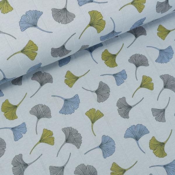 Musselin Jersey Double Ginko Blätter hellblau