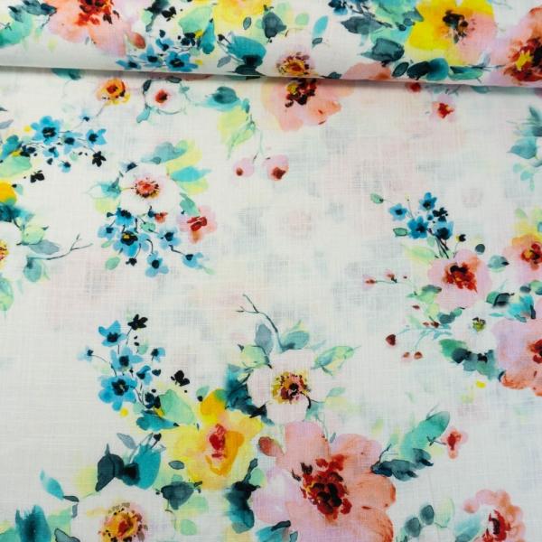 Leinen DIGITAL Blüten ecru