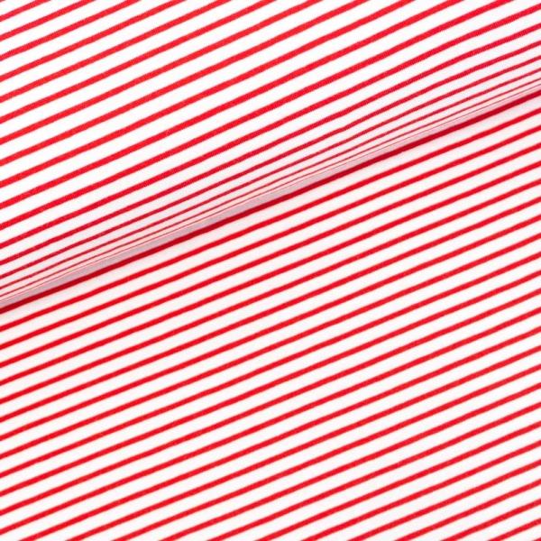 Baumwolljersey Small Stripes weiß-rot