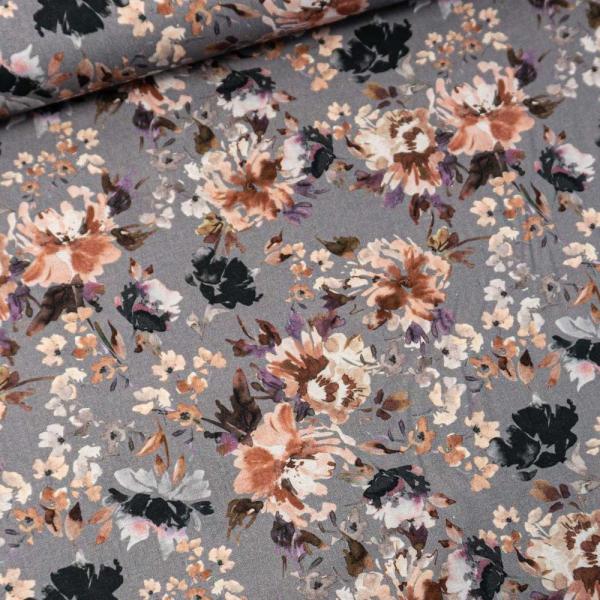 Baumwollwebware Painted Flowers grau