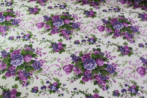 Beschichtete Webware Wachstuch Vintage Rose lila-beere Öko Tex 100