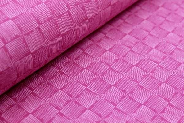 Kritzel Schachbrett pink Sommersweat Öko Tex 100