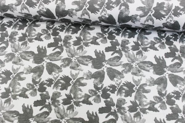 Kuschelsweat Wasserblume grau-anthra angeraut Öko Tex 100