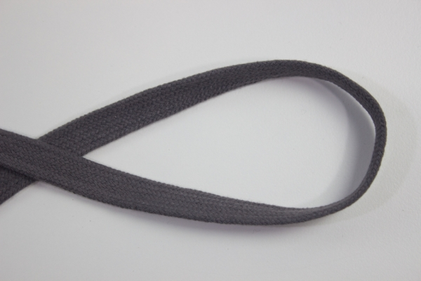 14mm Hoodie Kordel Flachkordel anthrazit Baumwolle Ökotex 100