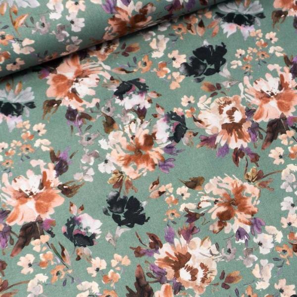 Baumwollwebware Painted Flowers dusty mint