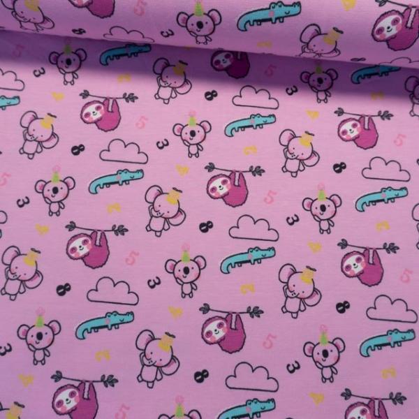 Baumwolljersey Baby Animals rosa