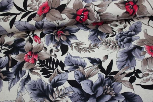 Jersey Viskose-Leinen Sweet Flower taupe-pink-grau Ökotex 100