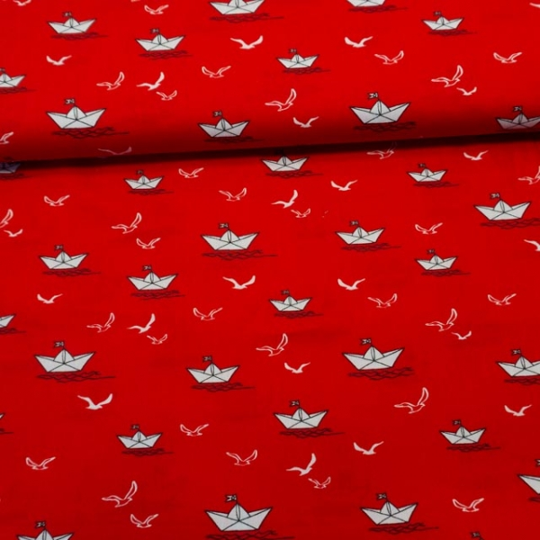 Baumwollwebware Schiffchen und Möwen rot