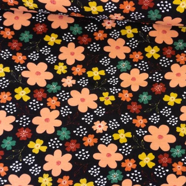 Bio-Baumwolljersey Flowers and Hearts schwarz Ökotex 100