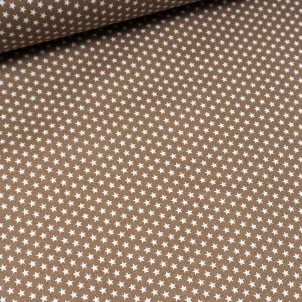 Baumwollwebware Mini Sterne beige