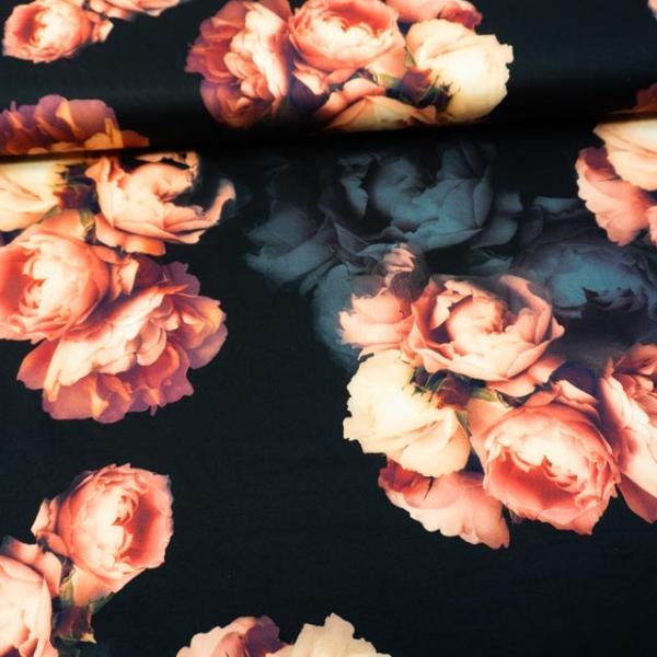 Jersey Soft Skin Great Flowers schwarz