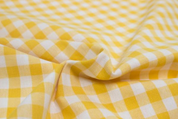 Baumwolle Vichy GROß gelb/weiß Öko Tex 100