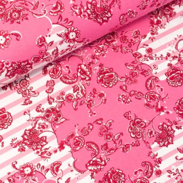 Baumwolljersey Paisley Flowers & Stripes pink