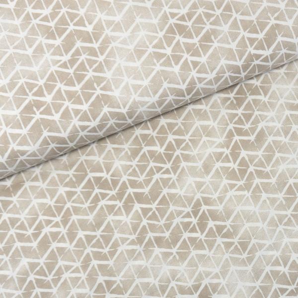 Baumwollwebware Italienische Kollektion Grafisch taupe-weiß Ökotex 100