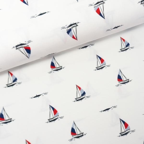Baumwolljersey Segelboote weiß
