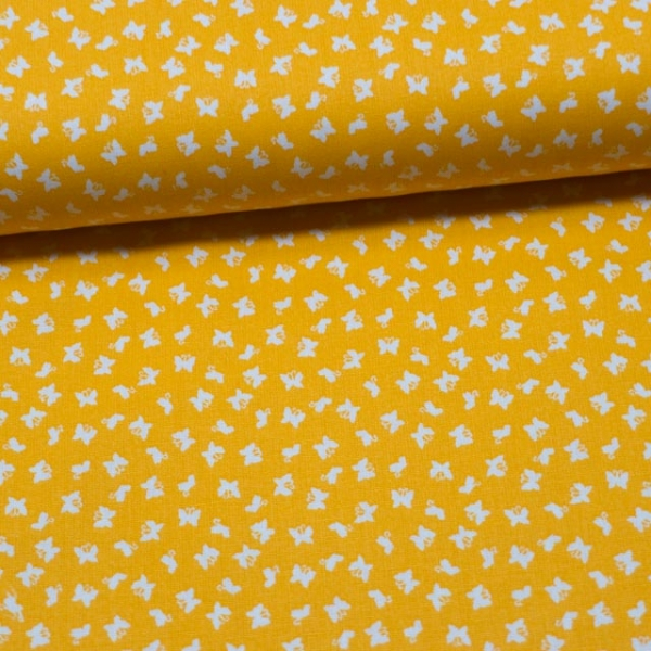Baumwollwebware Mini Schmetterlinge gelb