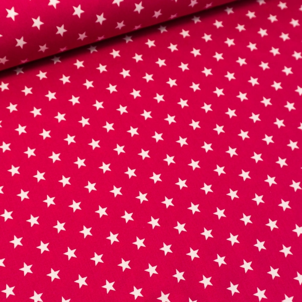 Baumwolle/Webware Stars pink-beere Ökotex 100
