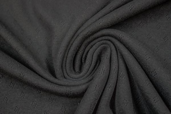 Baumwoll Lochstrick Jersey schwarz Öko Tex 100