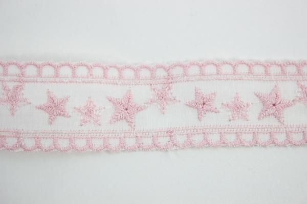 Bestickte Baumwoll Borte Stern rosa 3cm Ökotex 100
