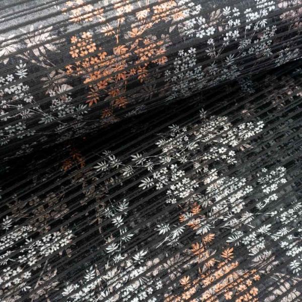 Samt Plissee Jersey Achillea schwarz