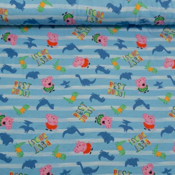 Baumwolljersey Peppa Pig Beste Freunde Streifen hellblau