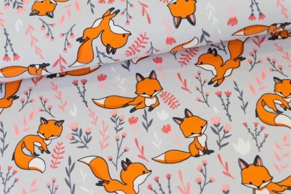 Baumwolljersey Cute Fox grau Ökotex 100