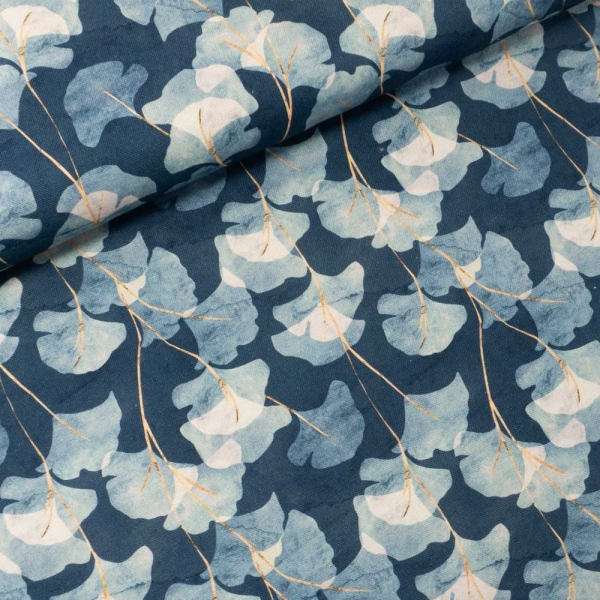 Canvas DIGITAL Ginko Leaves jeansblau