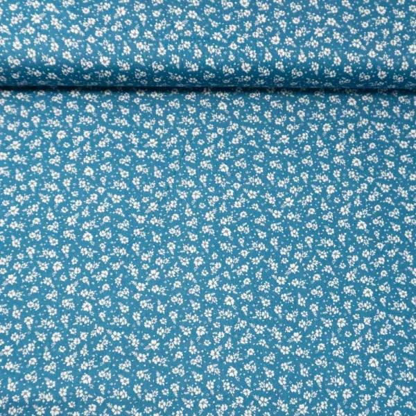 Baumwollwebware Tiny Flowers jeansblau