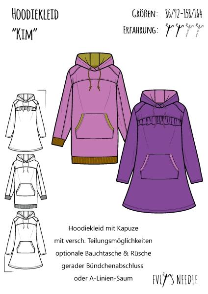 Papierschnitt KIM Hoodie-Kleid
