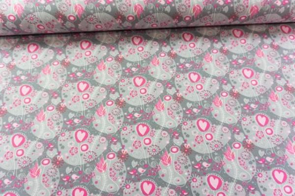 Baumwolljersey Flower Hearts grau pink Ökotex 100