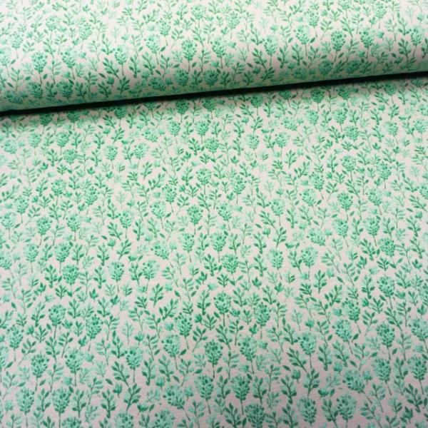 Baumwolljersey Strauchblüten grau-dusty mint