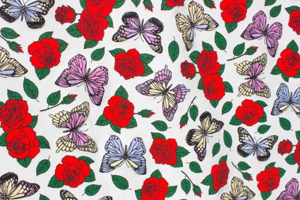 Farbwechsel UV-Stoff Baumwolljersey Magic Butterfly