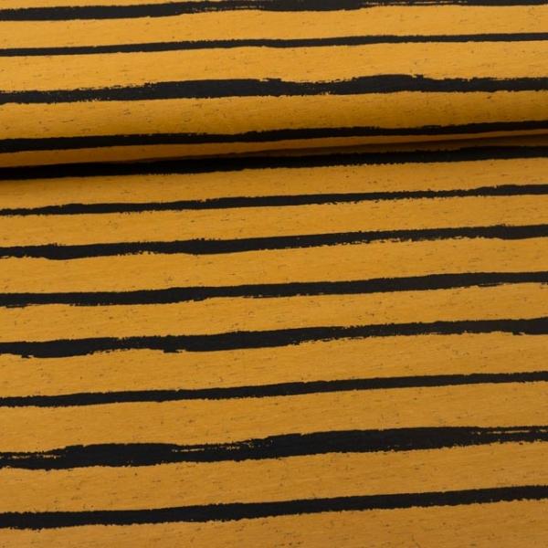 Baumwolljersey Melange Stripes senf