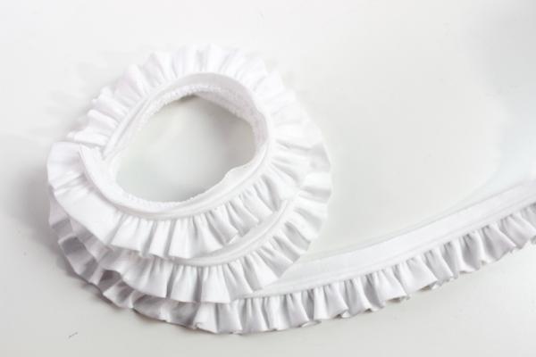 Rüschenband Volantband weiß Ökotex 100