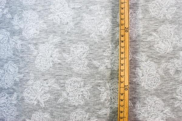 Baumwolljersey Romantic Rose weiß-grau meliert Öko Tex 100