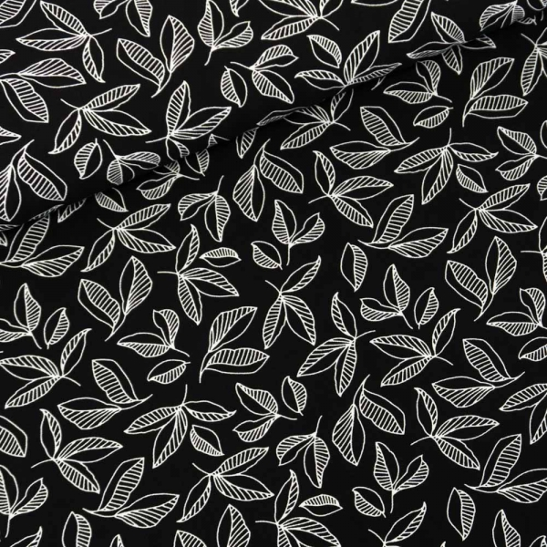 Viskosewebware Pfingstrosen Blätter schwarz