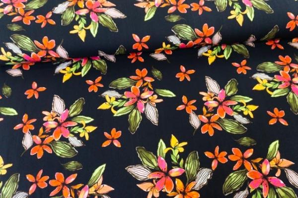 Viskosewebware Painted Flowers DIGITAL schwarz Ökotex 100
