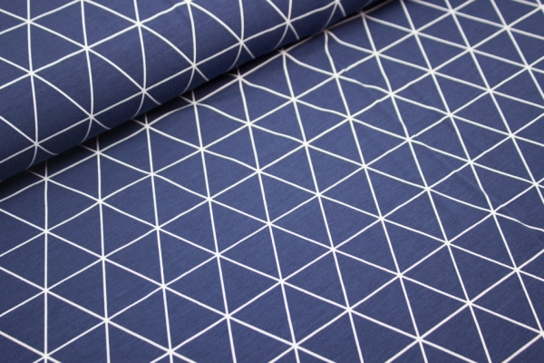 Baumwolljersey Triangles Jeansblau-dunkel Öko Tex 100