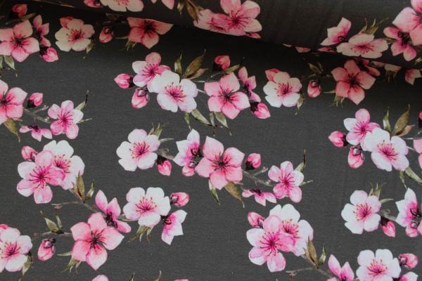Baumwolljersey Cherry Blossom grau Öko Tex 100