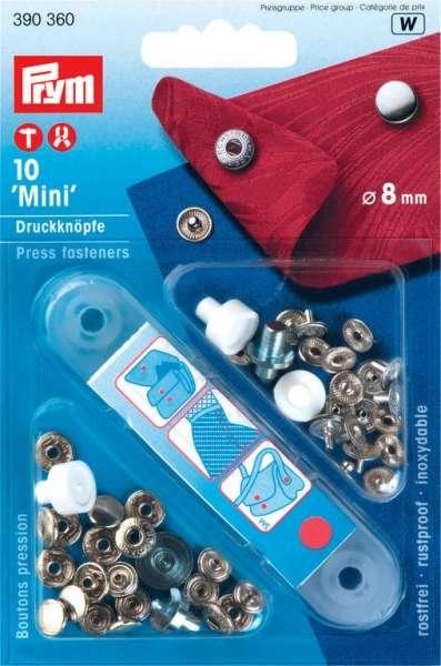 Prym Mini Druckknöpfe silber 8mm inkl. Lochwerkzeug