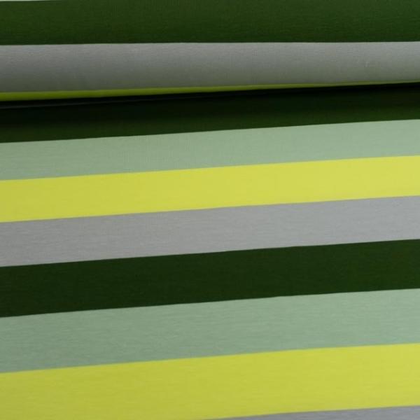 Baumwolljersey Blockstreifen anthra-lime-khaki-tannengrün