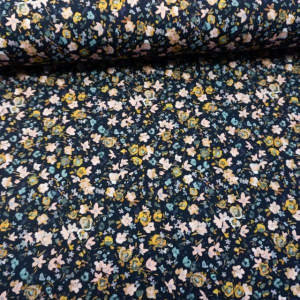 BIO Baumwolljersey Digital Aquarell Mini Flowers navy